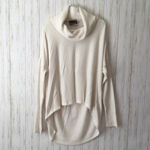 anthropologie Cream Cowl Nk Oversized HiLo Sweater